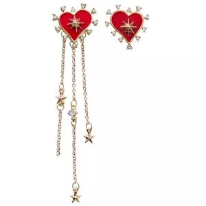 🆕❤ Asymmetric Red Hearts & Chain Stars Earrings